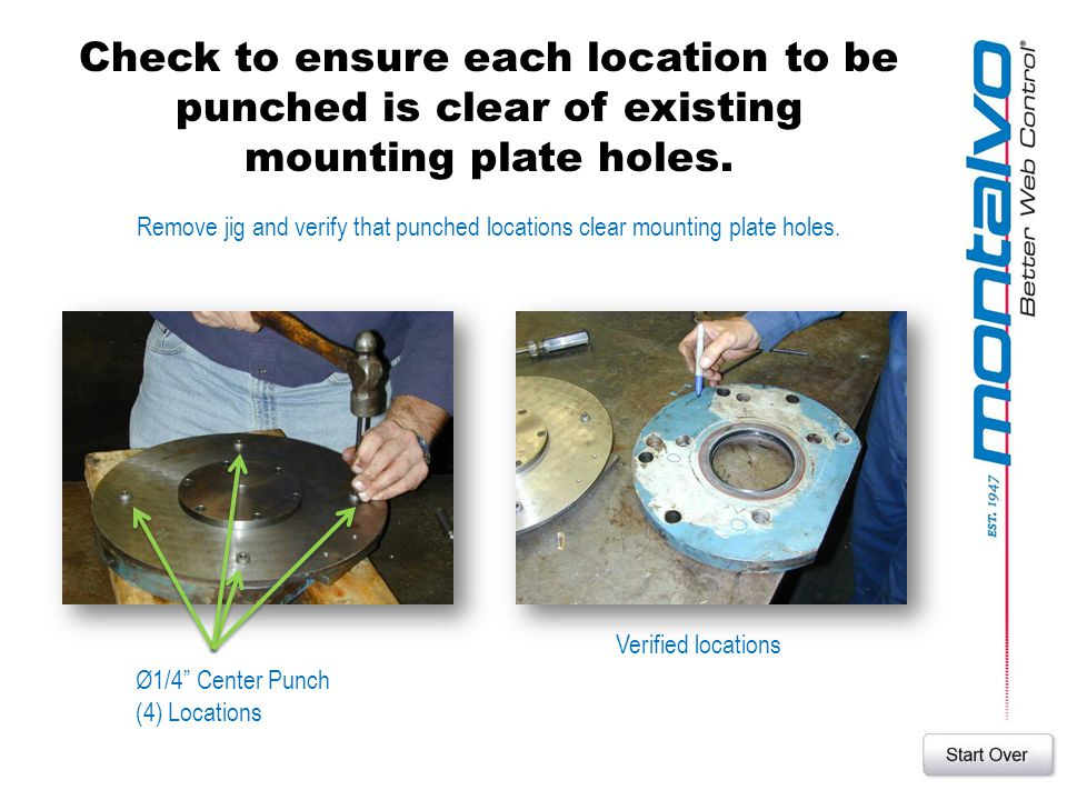 Check to ensure each location to be punched is clear of existing mounting plate holes.
