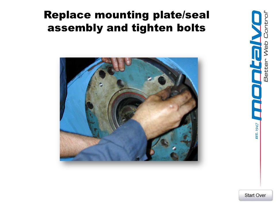 Replace mounting plate/seal assembly and tighten bolts