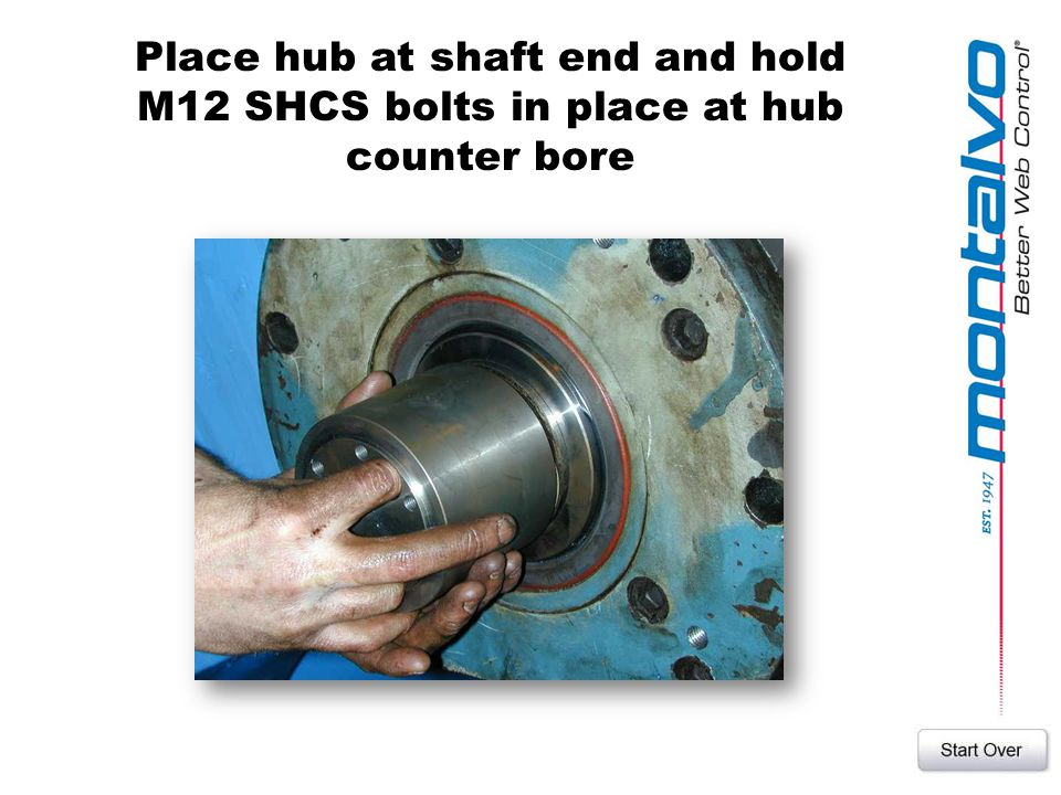Place hub at shaft end and hold M12 SHCS bolts in place at hub counter bore