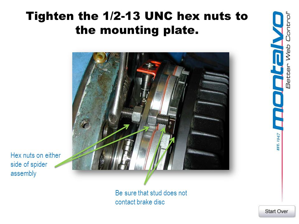 Tighten the 1/2-13 UNC hex nuts to the mounting plate.