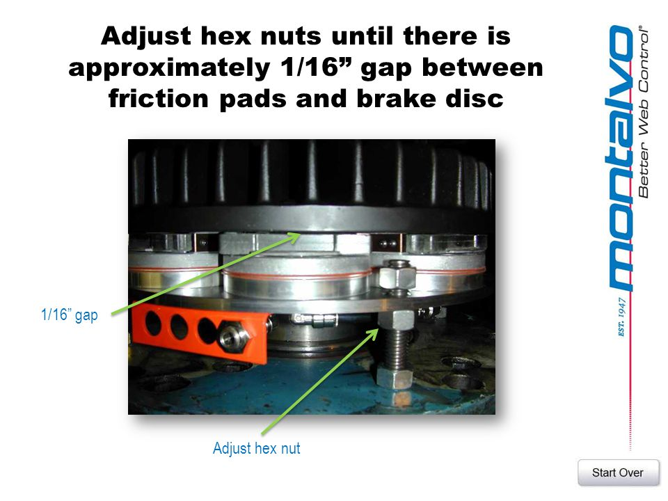 Adjust hex nuts until there is approximately 1/16 gap between friction pads and brake disc