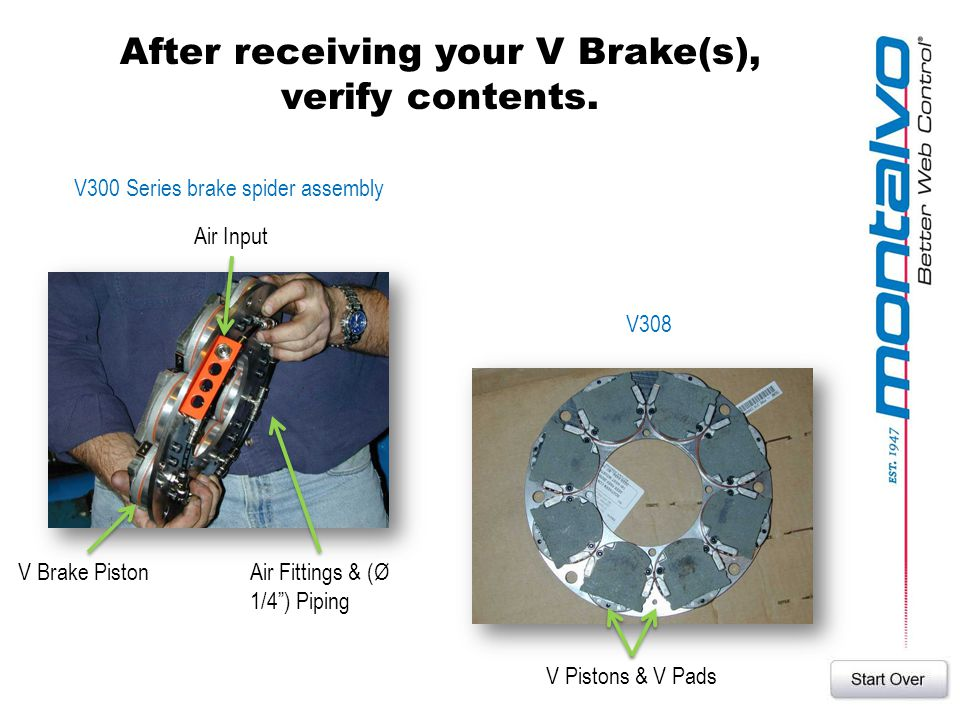 After receiving your V Brake(s), verify contents.