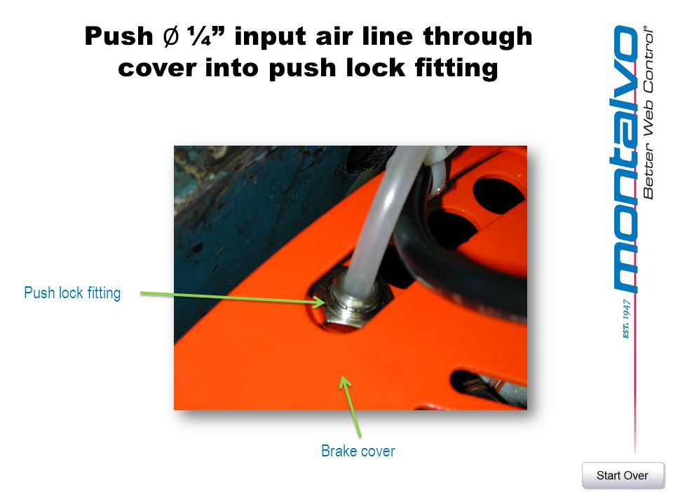 Push Ø ¼ input air line through cover into push lock fitting