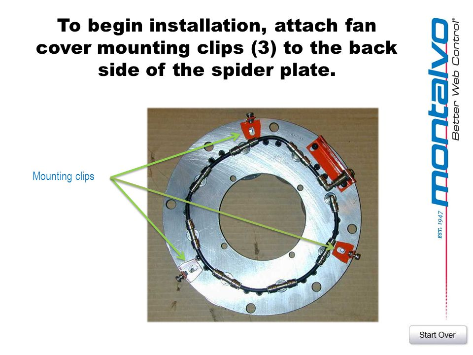 To begin installation, attach fan cover mounting clips (3) to the back side of the spider plate.
