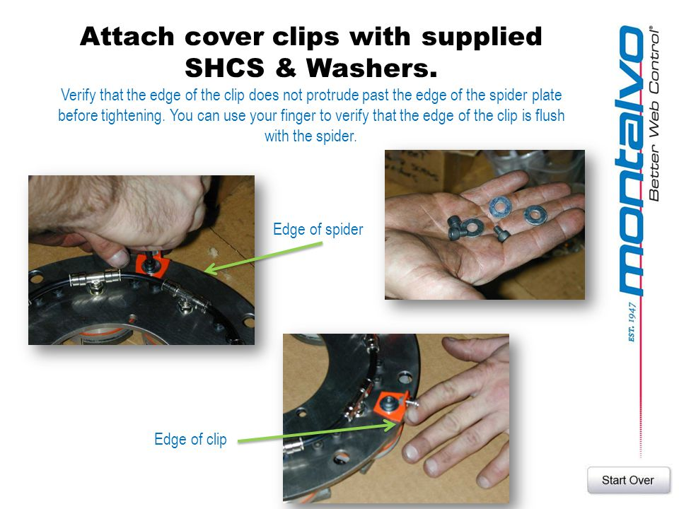 Attach cover clips with supplied SHCS & Washers.