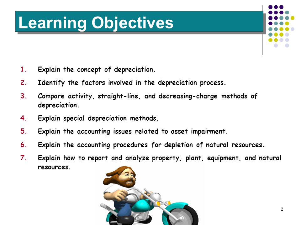 Learning Objectives Explain the concept of depreciation.