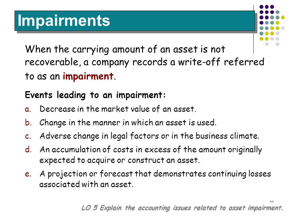 Impairments When the carrying amount of an asset is not recoverable, a company records a write-off referred to as an impairment.