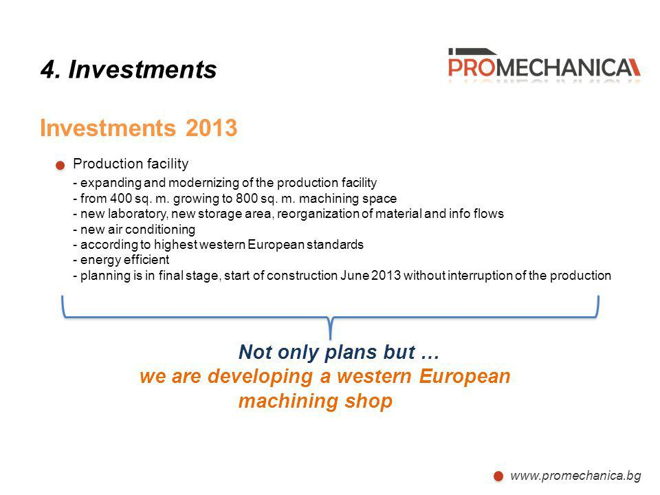 Production facility 4. Investments Investments 2013