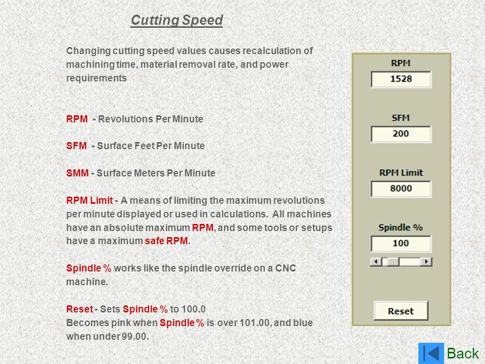 Cutting Speed Changing cutting speed values causes recalculation of