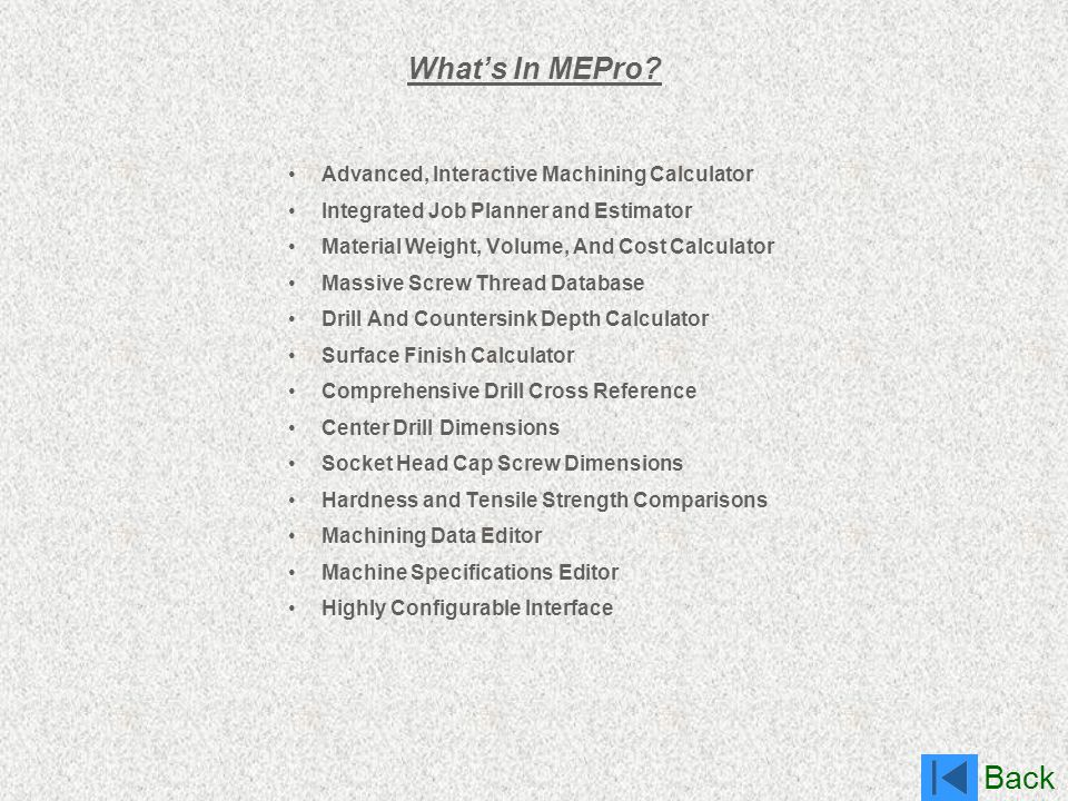 What's In MEPro Advanced, Interactive Machining Calculator