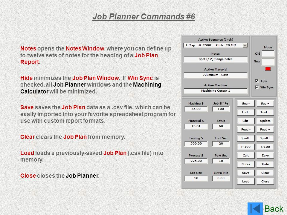 Job Planner Commands #6 Notes opens the Notes Window, where you can define up to twelve sets of notes for the heading of a Job Plan Report.