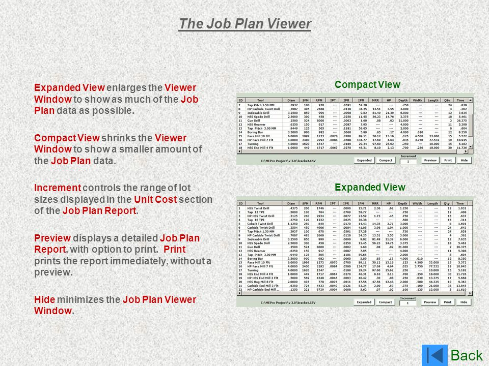 The Job Plan Viewer Compact View