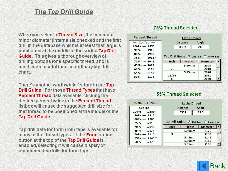 The Tap Drill Guide 75% Thread Selected