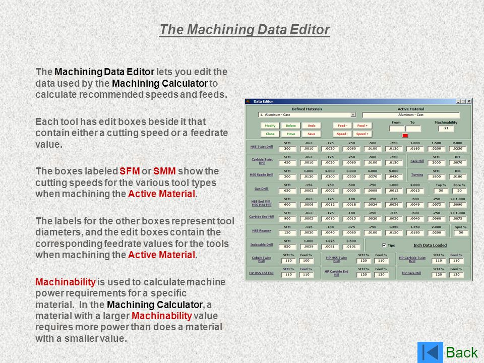 The Machining Data Editor