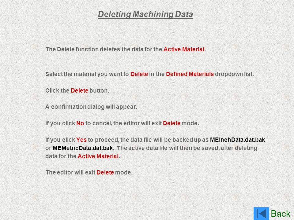 Deleting Machining Data