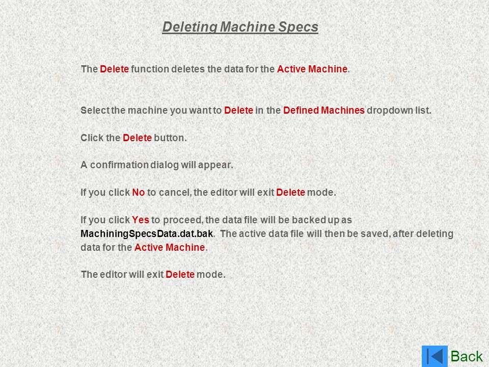 Deleting Machine Specs