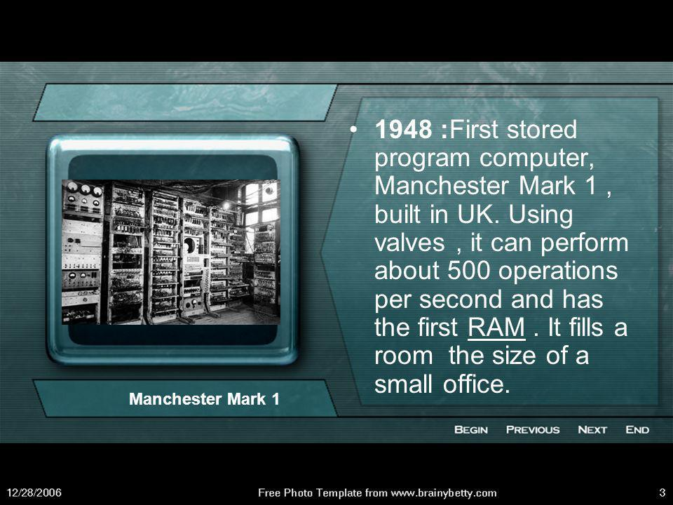1948 :First stored program computer, Manchester Mark 1 , built in UK