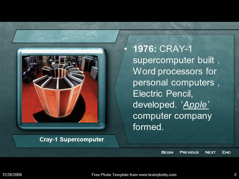 1976: CRAY-1 supercomputer built