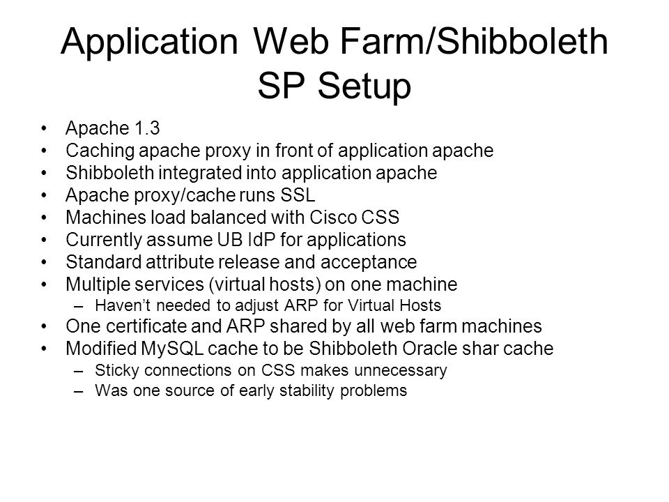 Application Web Farm/Shibboleth SP Setup