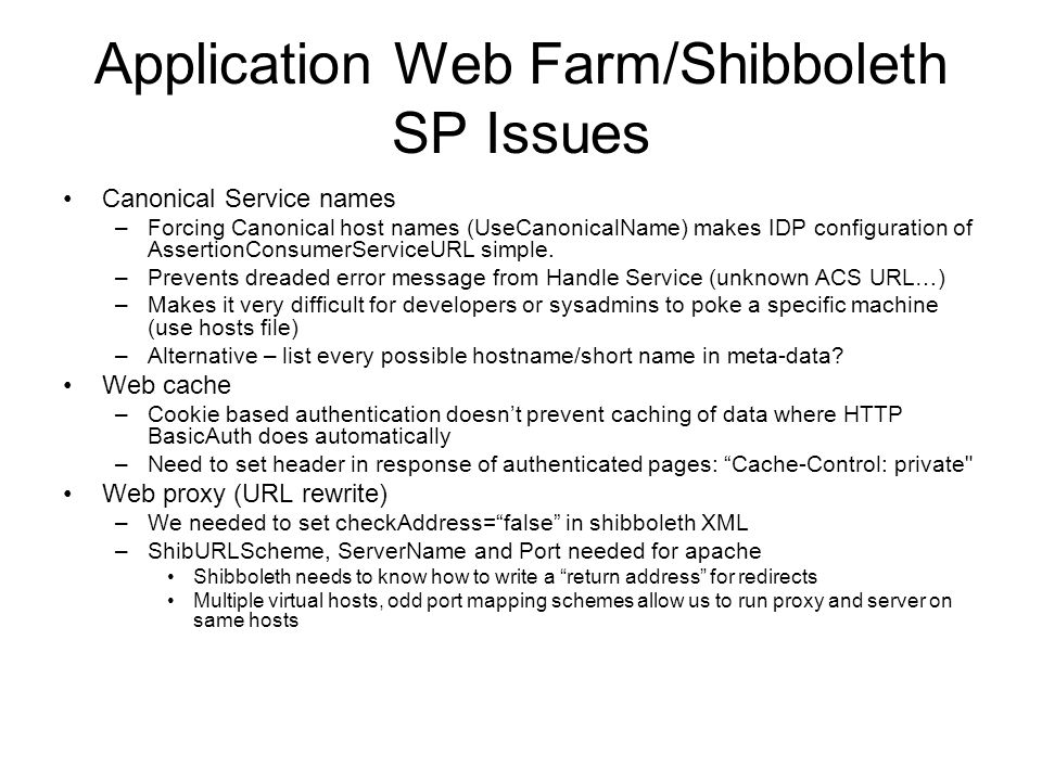 Application Web Farm/Shibboleth SP Issues