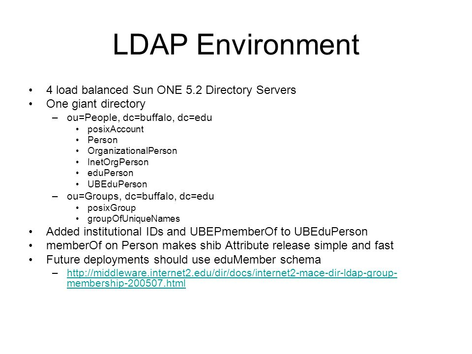 LDAP Environment 4 load balanced Sun ONE 5.2 Directory Servers