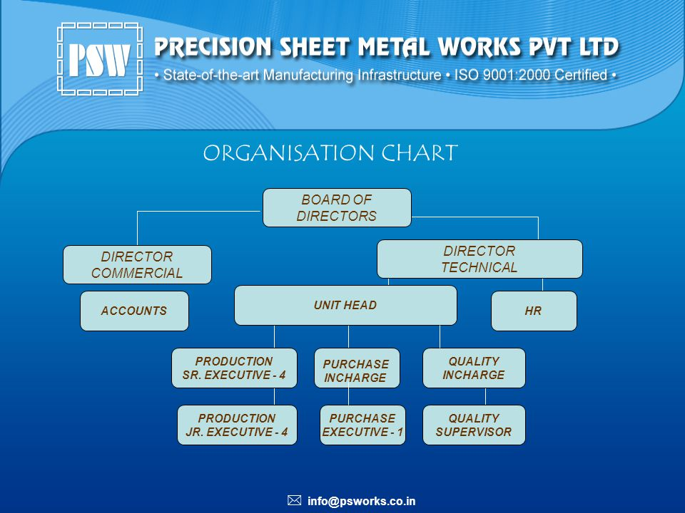 ORGANISATION CHART BOARD OF DIRECTORS DIRECTOR DIRECTOR TECHNICAL