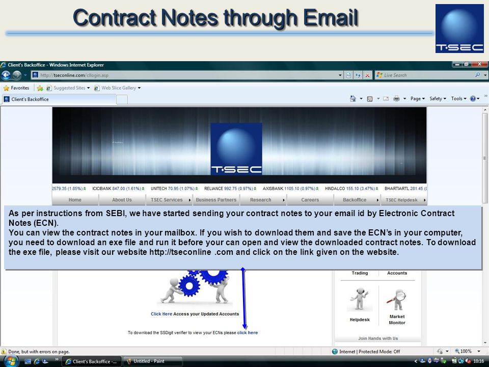 Contract Notes through Email
