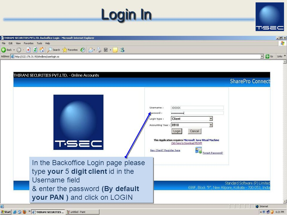 Login In In the Backoffice Login page please type your 5 digit client id in the Username field.