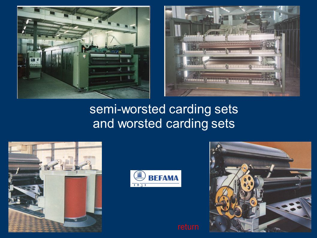 semi-worsted carding sets and worsted carding sets