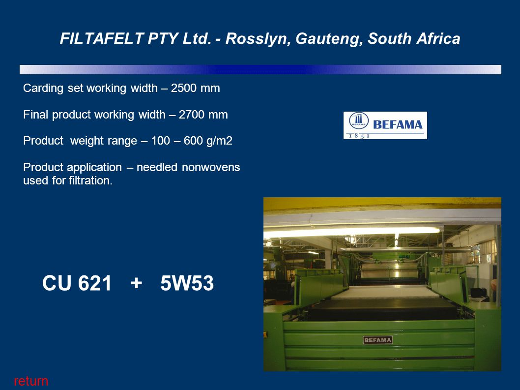 FILTAFELT PTY Ltd. - Rosslyn, Gauteng, South Africa