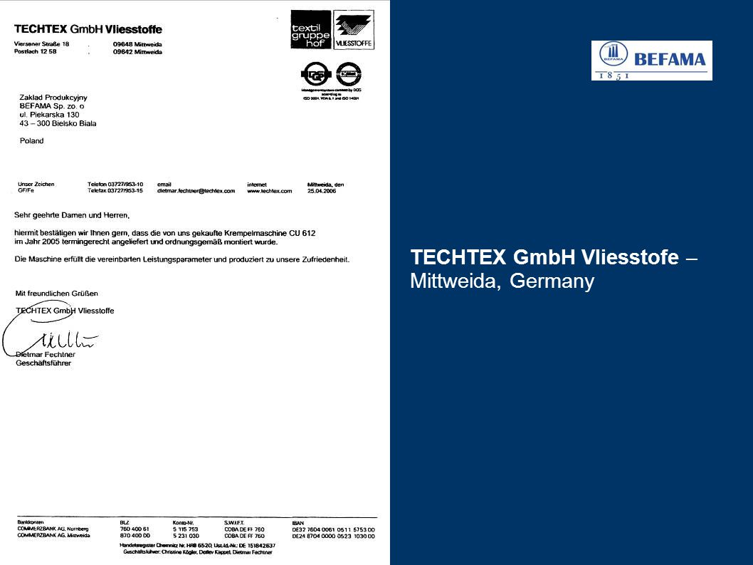 TECHTEX GmbH Vliesstofe – Mittweida, Germany