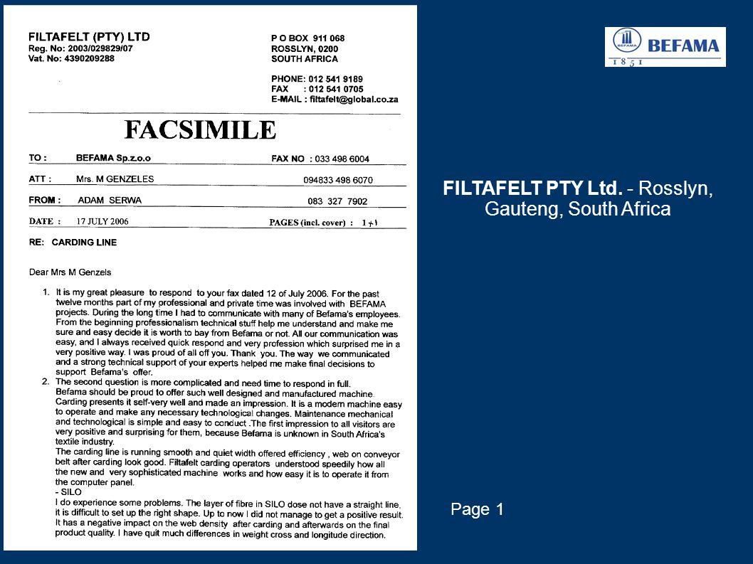 FILTAFELT PTY Ltd. - Rosslyn, Gauteng, South Africa