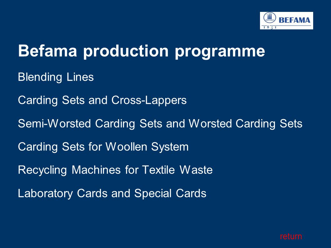 Befama production programme Blending Lines