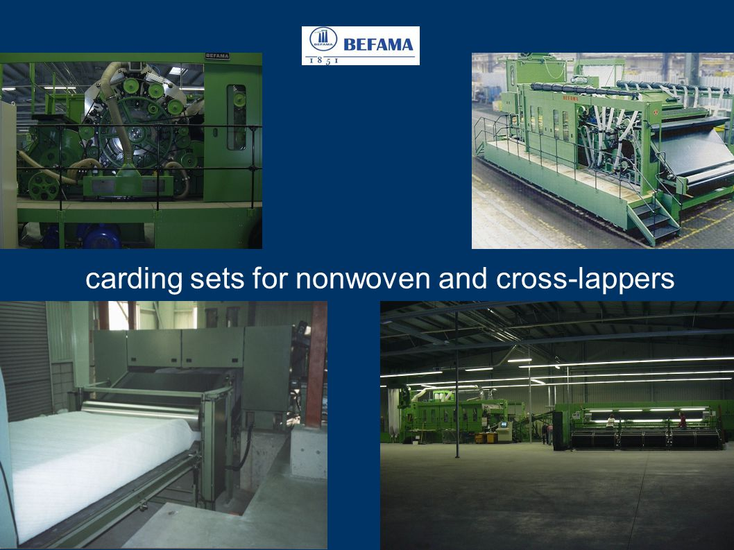 carding sets for nonwoven and cross-lappers