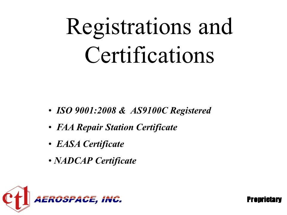 Registrations and Certifications