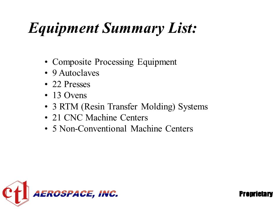 Equipment Summary List: