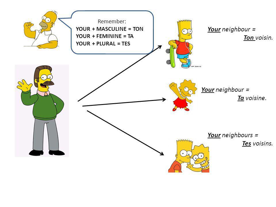 Your neighbour = Ton voisin. Your neighbour = Ta voisine.