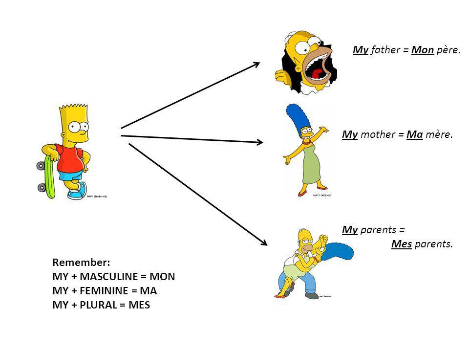 My father = Mon père. My mother = Ma mère. My parents = Mes parents. Remember: MY + MASCULINE = MON.