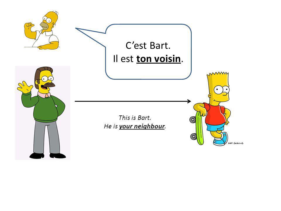 C'est Bart. Il est ton voisin. This is Bart. He is your neighbour.