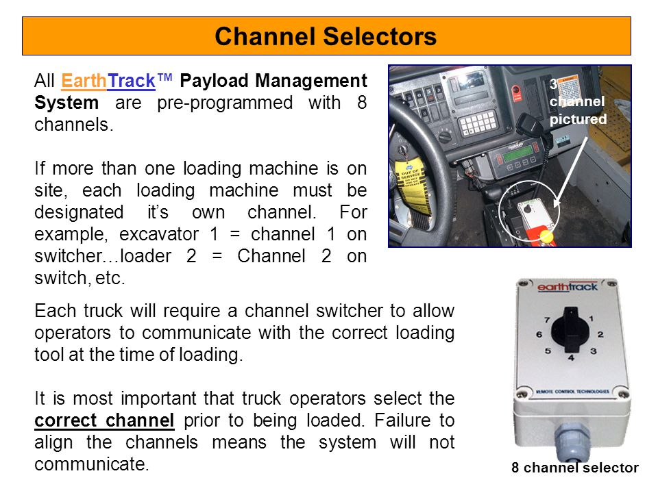 Channel Selectors All EarthTrack™ Payload Management System are pre-programmed with 8 channels.