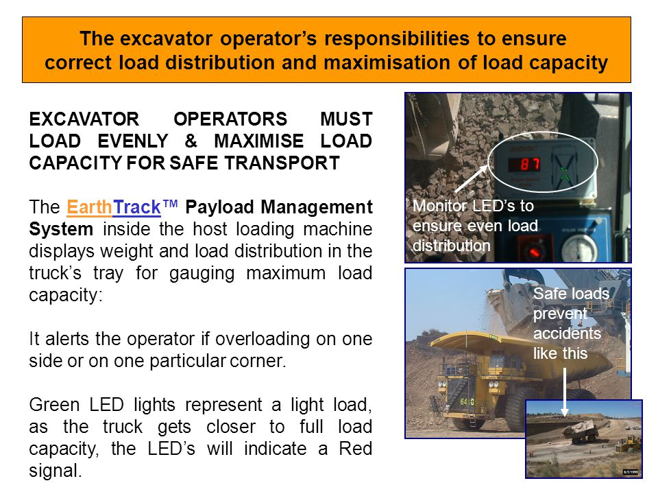 The excavator operator's responsibilities to ensure