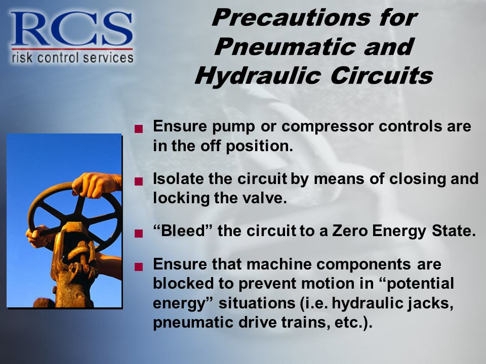 Precautions for Pneumatic and Hydraulic Circuits