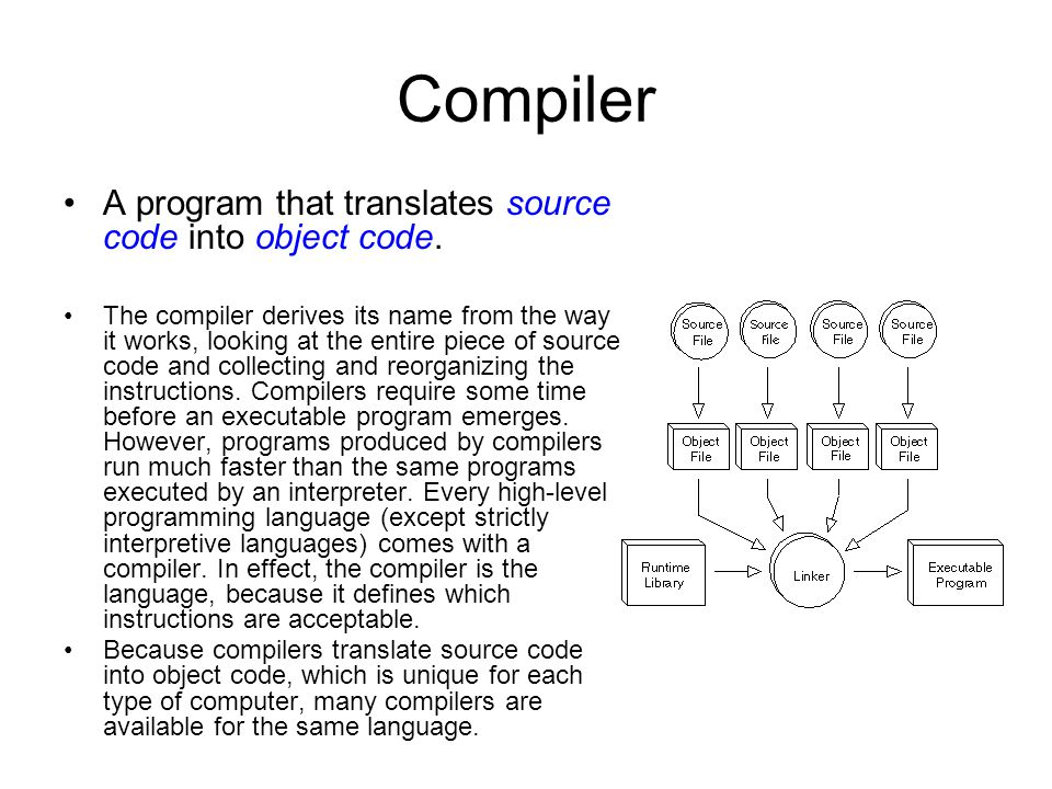 Compiler A program that translates source code into object code.