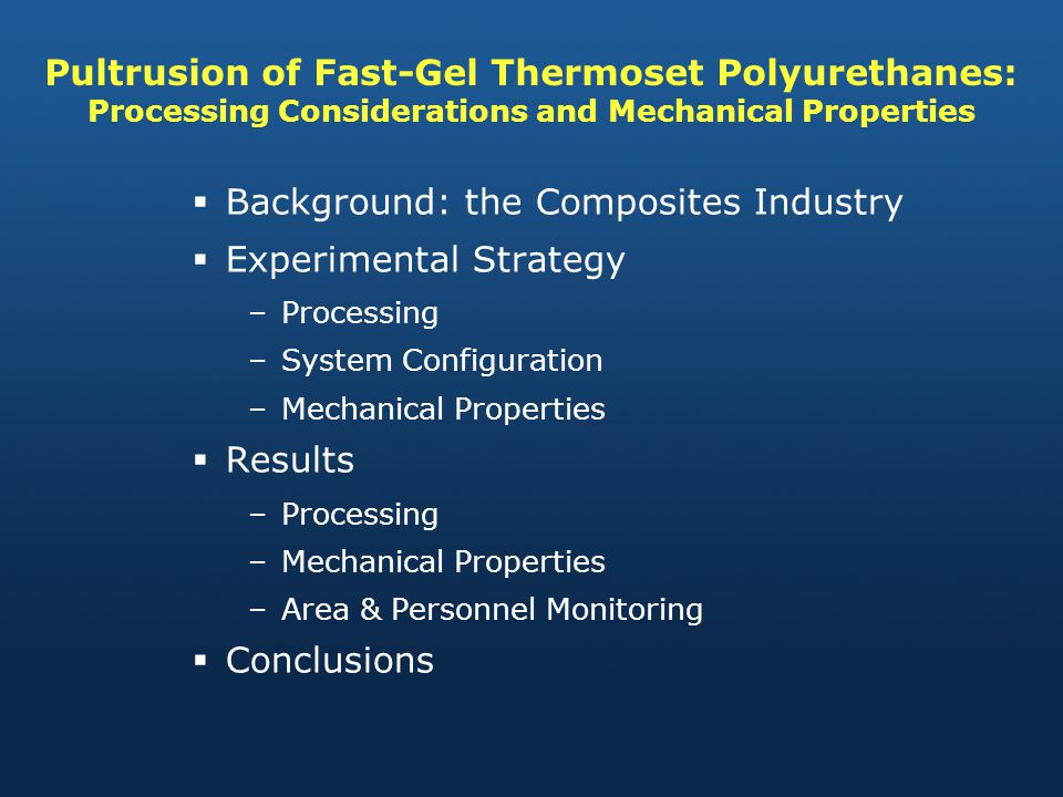 Background: the Composites Industry Experimental Strategy