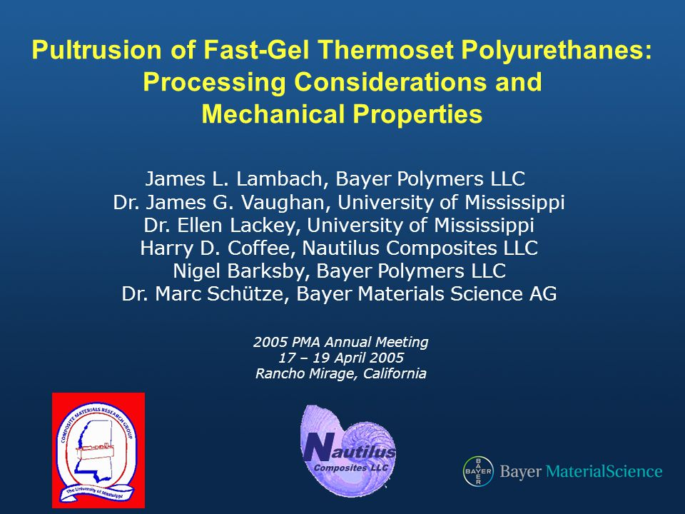 N Pultrusion of Fast-Gel Thermoset Polyurethanes: