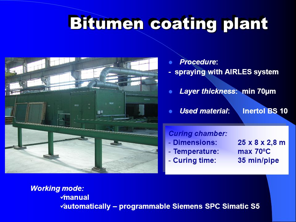 Bitumen coating plant Procedure: - spraying with AIRLES system