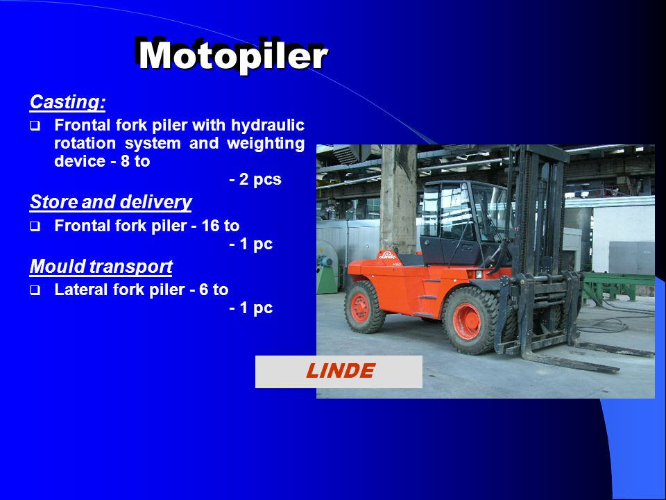 Motopiler LINDE Casting: Store and delivery Mould transport