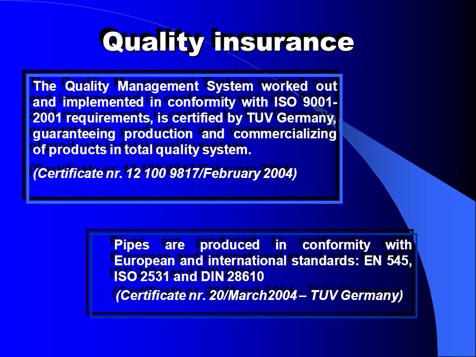(Certificate nr. 20/March2004 – TUV Germany)