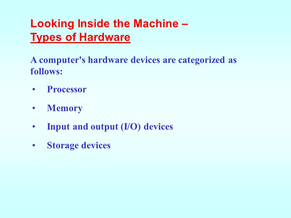 Looking Inside the Machine – Types of Hardware