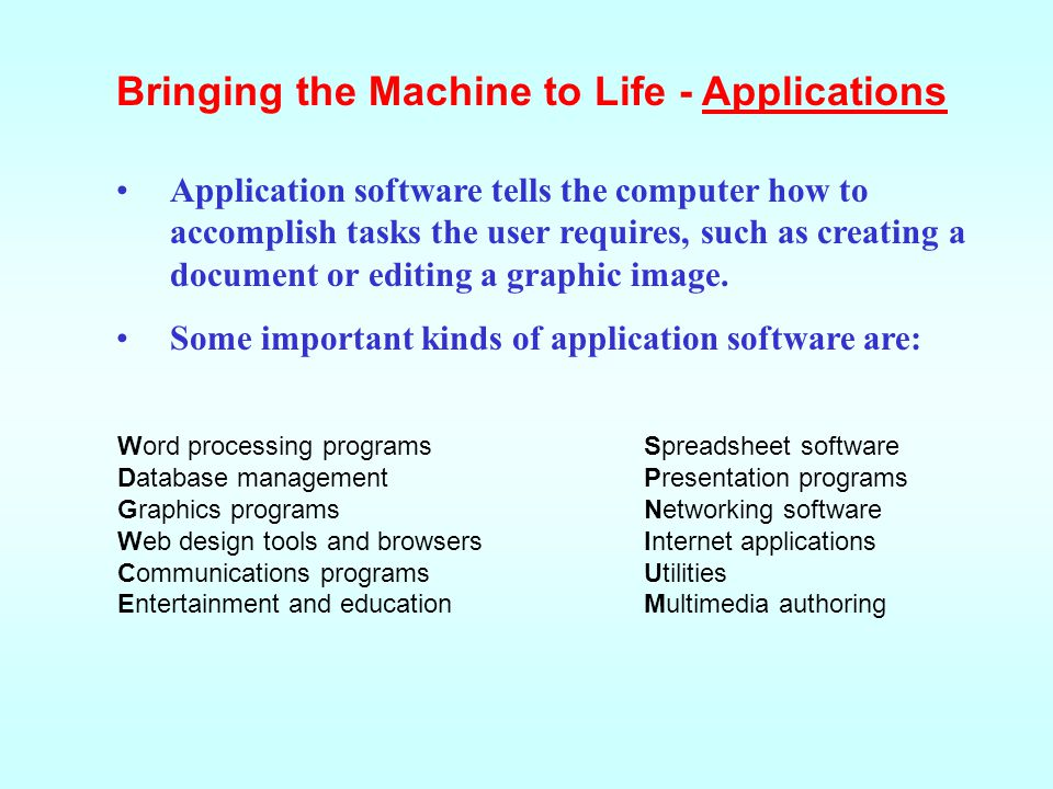 Bringing the Machine to Life - Applications